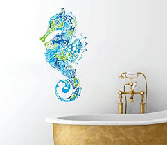 Amazon Com Seahorse Design Peel And Stick Removable Bathroom Any Room Wall Decal 14 X 7 Home Kitchen