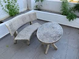 garden table and bench tarrazzo stone