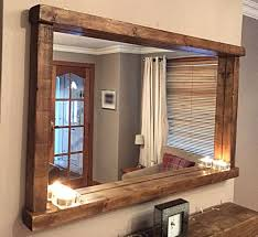 style chunky wooden mirror with shelf