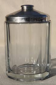 vintage glass canister w metal lid