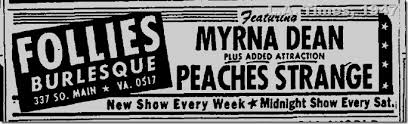 July 30, 1947: Peaches Strange at the Follies Burlesque |