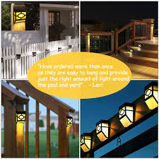 Landscape Stair Front Door Greluna Solar Fence Lights 2 Modes Solar Led Outdoor Wall Lights For Deck Patio Fence Yard And Driveway Path Warm White Color Changing Pack Of 2 Step Lights
