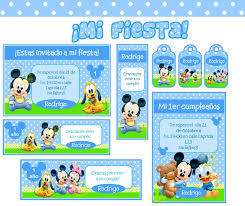 Kit Imprimible Mickey Mouse Bebe Tarjetas Y Mas Kits