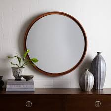 floating round wood mirror acorn