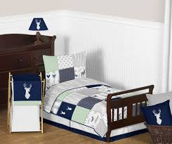 Navy Blue Mint And Grey Woodsy Deer Boy Toddler Bedding 5pc Set By Sweet Jojo Designs Only 99 99
