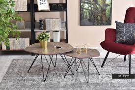 2 piece brown marble coffee table set
