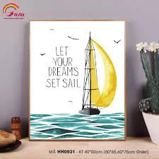 Tranh tô màu số hóa Gam Thuyền buồm và biển xanh hiện đại đơn giản dễ vẽ  HH0931 Your dream