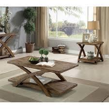 3 piece wood coffee table set in oak