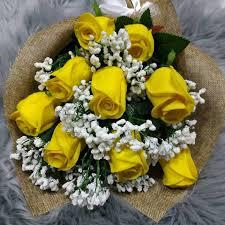 Rafeef Flowers باقة ورد شبه طبيعي باللون الاصفر أصفر فيسبوك