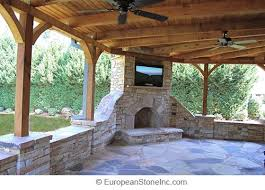 stone fireplace stone patio