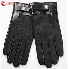 men wool blend leather driving gloves