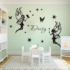 Custom Name Fairy 2 Angels Star Wall Decals Girl Room Kids Room Cartoon Fairy Angels Star Wall Sticker Bedroom Art Vinyl Decor Wall Stickers Aliexpress