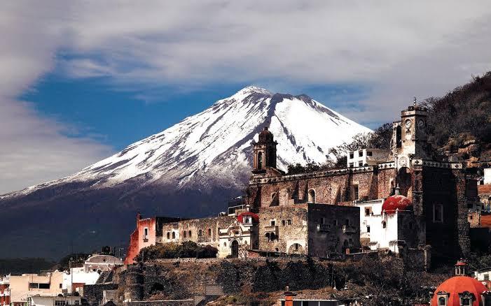 vista del Popocatépetl en Atlixco