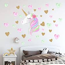 Amazon Com Unicorn Wall Decals Unicorn Wall Sticker Decor With Heart Flower Birthday Christmas Gifts For Boys Girls Kids Bedroom Decor Nursery Room Home Decor A Unicorn Baby