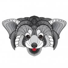 Hand Getrokken Doodle Zentangle Rode Panda Illustratie Vector