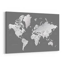 Shop Noir Gallery Gray World Map With Cities Canvas Wall Art Print Overstock 27458370