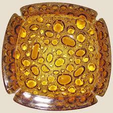 bubble pebble blenko art glass ashtray