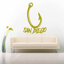 San Diego Fish Hook Fishing Vinyl Car Window Decal Sticker