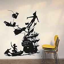 Amazon Com Wall Decal Peter Pan Cartoon Ship Pirates Hook Sticker Bedroom Kids Girls Boys Teenager Room Customized 548uk Arts Crafts Sewing