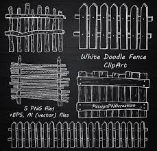 White Doodle Fence Clipart Hand Drawn Wooden Fence Clip Art Etsy