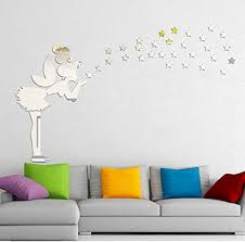 Amazon Com Wall Stickers Angel Magic Fairy Star 3d Mirror Wall Sticker Kid Bedroom Decoration Gift Silver Home Garden Kitchen Accessories Decorative Stickers Wall Murals Kitchen Dining