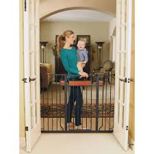 Regalo Home Accents Extra Tall Walk Thru Gate Hardwood And Steel Walmart Com Baby Gates Child Safety Gates Baby Gate For Stairs