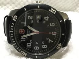 black dial black leather band watch