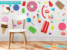 Candy Fabric Wall Decals Gummy Bears Lollipops Jelly Beans