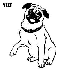 Yjzt 10cm 14cm Pug Dog Happy Adorable Cute Puppy Vinyl Decal Car Sticker Black Silver C10 00263 Car Stickers Aliexpress