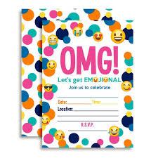 Amazon Com Emoji Birthday Party Fill In Invitations Toys Games