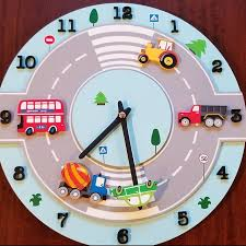 Happy Sun Wall Clock Kids Baby Nursery Room Decor Wooden Etsy In 2020 Nursery Room Decor Blue Clocks Wooden Clock