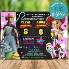 Invitacion De Cumpleanos De Toy Story Girl Sibling Twins Para