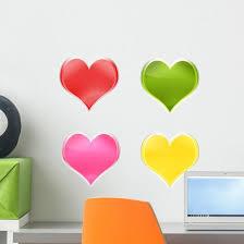 Assortment Colorful Hearts Wall Stickers Wallmonkeys Com
