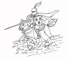 Middeleeuwse Speerridder Op Paard Zwart En Wit Geisoleerde