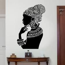 Tribal African Woman Decalvinyl Wall Sticker Beautiful Afro Girl Dress Home Decor Wall Art Design Mural Self Adhesive 3237 Wall Stickers Aliexpress