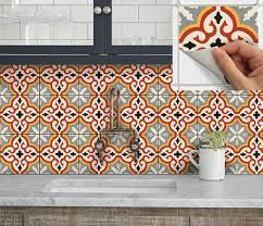 Wall Tile Vinyl Decal Sticker For Kitchen Bath Stair Riser Waterproof Removable Peel N Stick Marrakech Orange Vinyl Decals Tile Decals Vinyl Decal Stickers