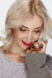 white hair fashion model with natural