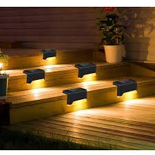 4pcs Led Solar Deck Lights Fence Post Solar Lights For Patio Pool Stairs Step And Pathway Weatherproof Auto On Off Solar Powered Outdoor Lights Walmart Canada