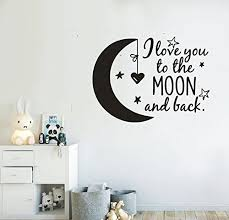 Wall Decal Quotes I Love You To The Moon And Back Kids Bedroom Decor Wall Sticker Art Vinyl Nursery Bedroom Wallapper Black Baby B0761xqnjm