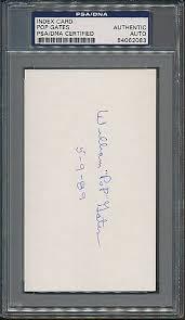 Pop Gates Autographed Signed Index Card PSA/DNA Certified Authentic Auto  Autograph *2083