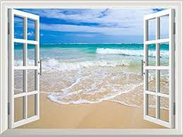 Wall26 Removable Wall Sticker Wall Mural Beautiful Blue Caribbean Sea Beach Creative Window View Home Decor Wall Beach Wall Murals Window Mural Wall Murals