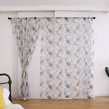 Vova Leaf Printed Voile Door Room Tulle Window Curtain Sheer Valances Home Curtain Fot Bedroom Kitchen Kids Room