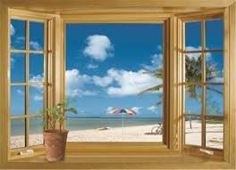 Amazon Com 3d Beach Window View Removable Wall Stickers Vinyl Decal Home Decor Deco Art Home Kitchen