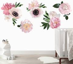 Urbanwalls Soft Pink Garden Flowers Wall Decal Pottery Barn Kids