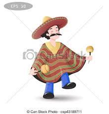 Sombrero, meksykanin, rysunek, poncho., człowiek. Meksykanin ...