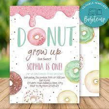 Invitaciones De Cumpleanos Editables De Donut Grow Up Descarga