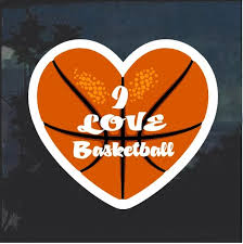 Love Basketball Heart Window Decal Sticker Custom Sticker Shop