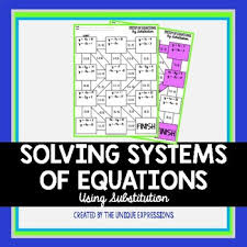 equations by substitution maze activity