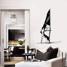 Windsurfing Wall Decal Windsurfer Water Sport Beach Style Mural Vinyl Wall Stickers Kids Boy Bedroom Teen Room Wall Art S740 Jose Takat734