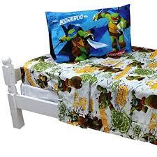 twin bed sheet set tmnt turtle power